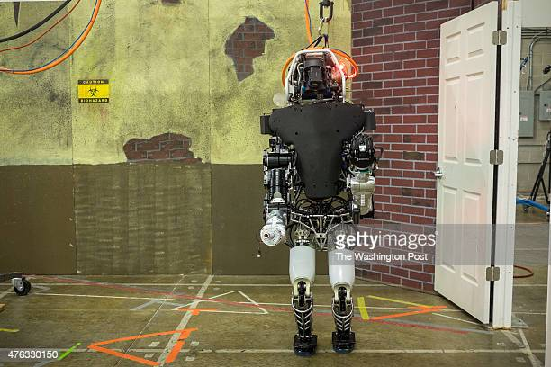 Frontview of the Atlas robot as it navigates inside the Lockheed Martin Advanced Technology Laboratories in Pennsauken NJ on May 8 2015 The lab's...