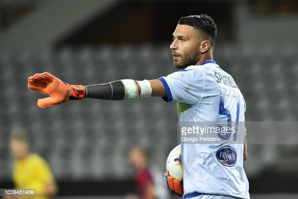 Frosinone Calcio goalkeeper Marco Sportiello controls the ball during the serie A match between Frosinone Calcio and Bologna FC at Olimpico Stadium...