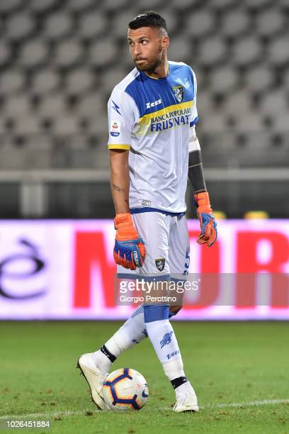 Frosinone Calcio goalkeeper Marco Sportiello controls the ball during the serie A match between Frosinone Calcio and Bologna FC at Olimpico Stadium...