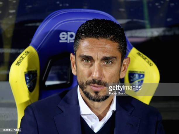 Frosinone Calcio head coach Moreno Longo looks on during the Serie A match between Frosinone Calcio and ACF Fiorentina at Stadio Benito Stirpe on...