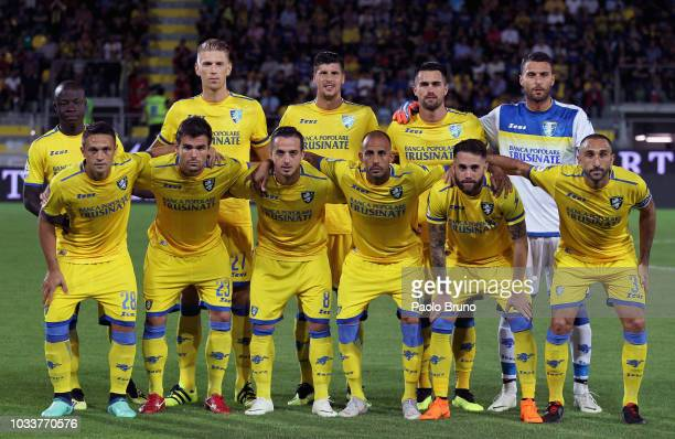 Frosinone Calcio team poses during the serie A match between Frosinone Calcio and UC Sampdoria at Stadio Benito Stirpe on September 15 2018 in...