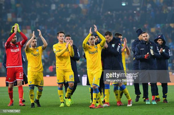 Frosinone players greet their fans after the Serie A match between Udinese and Frosinone Calcio at Stadio Friuli on December 22 2018 in Udine Italy