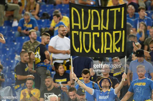 Frosinone supporters during the Italian Serie A football match between SS Lazio and Frosinone at the Olympic Stadium in Rome on september 02 2018