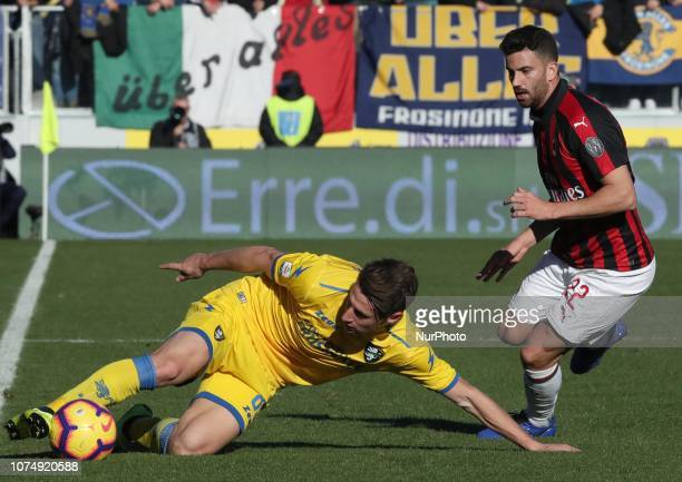 Frosinone v Ac Milan Serie A Andrea Pinamonti of Frosinone and Mateo Mustacchio of Milan at Benito Stirpe Stadium in Frosinone Italy on December 26...