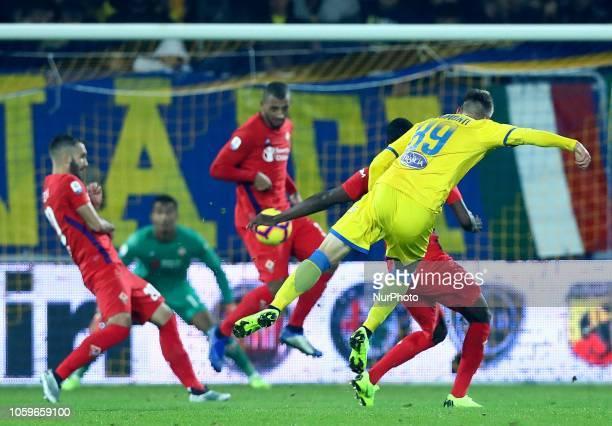 Frosinone v ACF Fiorentina Serie A Andrea Pinamonti of Frosinone scores the goal of 11 at Benito Stirpe Stadium in Frosinone Italy on November 9 2018