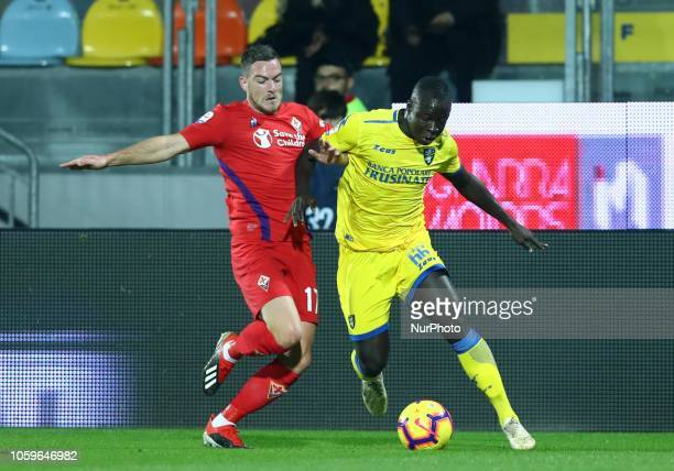 Frosinone v ACF Fiorentina Serie A Jordan Veretout of Fiorentina and Raman Chibsah of Frosinone at Benito Stirpe Stadium in Frosinone Italy on...