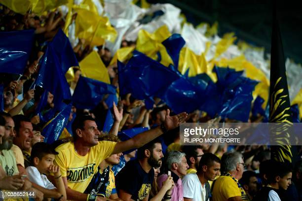 Frosinone's fans cheer during the Italian Serie A football match between Frosinone and Juventus Turin on September 23 2018 at the BenitoStirpe...