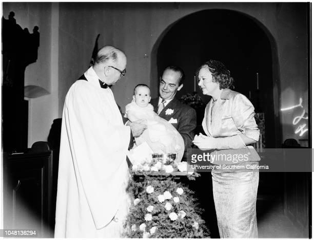 Frost child christening, 14 October 1951. Reverend J Herbert Smith;Arthur Frost;Mrs Arthur Frost;Christopher Frank Frost ;Frank Long ;Mrs Don Keller...