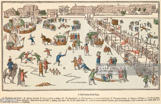 Frost fair on the River Thames, London, 1683. A true description of the blanket fair upon the River Thames in the time of the Great Frost in the year...