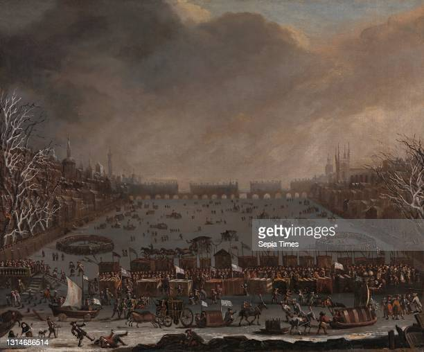 Frost Fair on the Thames, with Old London Bridge in the distance, Unknown artist, seventeenth century, Formerly attributed to Jan Wyck, ca....