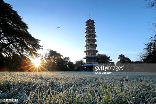 Frost lies on the grass at first light in front of The Royal Botanic Garden's Kew's Great Pagoda on January 22, 2021 in London, England. The Great...