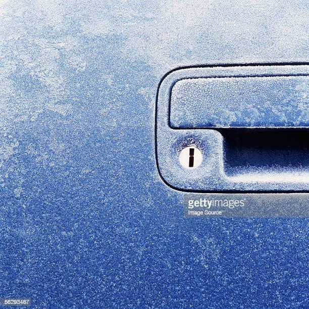 Frost on a car door