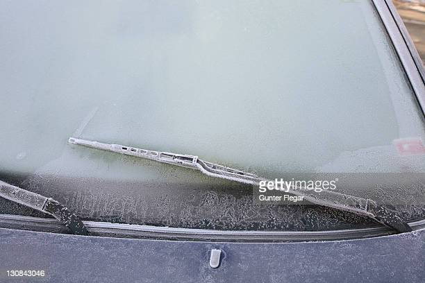 Frost on a car in wintertime
