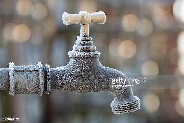 Frost on faucet, water tap, Switzerland