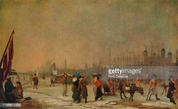 Frost on the Thames', 1788-1789, . A frost fair on the River Thames in the City of London, 'sketched on the spot'. People warm themselves round a...