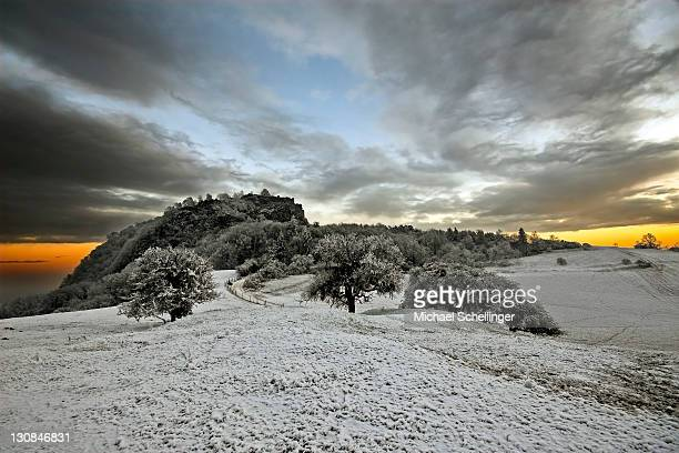 Frost-covered fortress ruins, Hegau, Baden-Wuerttemberg, Germany, Europe