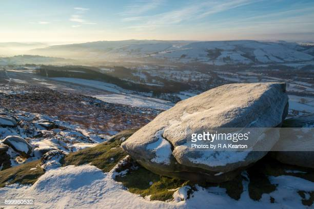 Frosted boulder on Bamford edge, Peak District, Derbyshire