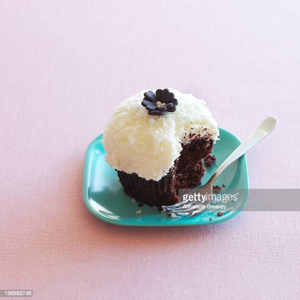 Frosted Chocolate Cupcake on a Plate