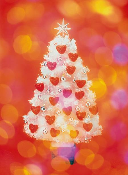 Frosted Christmas Tree Decorated With Heart Shaped Ornaments, Front View, Composition Wall Art