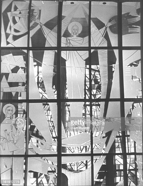 MAR 1967 MAR 25 1967 Frosted glass depicts the resurrected Jesus The cut work is at the Roman Catholic Cathedral of the glass work was executed in...