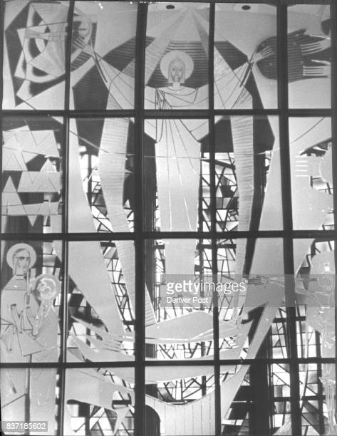 Frosted glass depicts the resurrected Jesus The cut work is at the Roman Catholic Cathedral of the glass work was executed in West Germany The Risen...