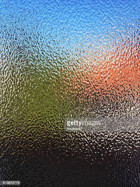 曇りガラスの表面