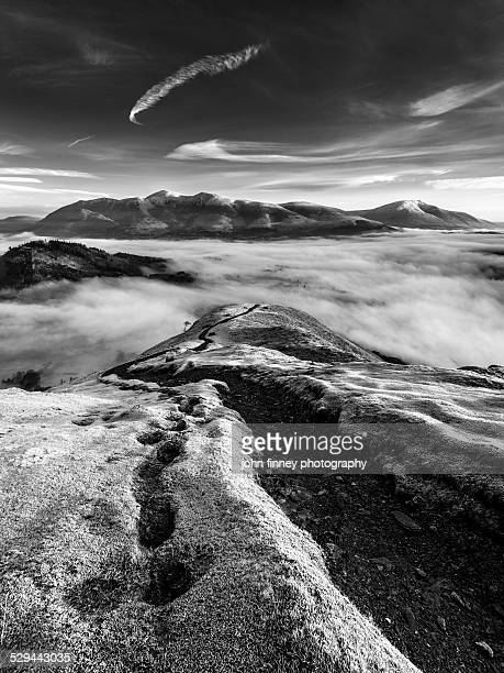 frosty fells sunrise, cumbria, lake district. - blencathra stock photos and pictures