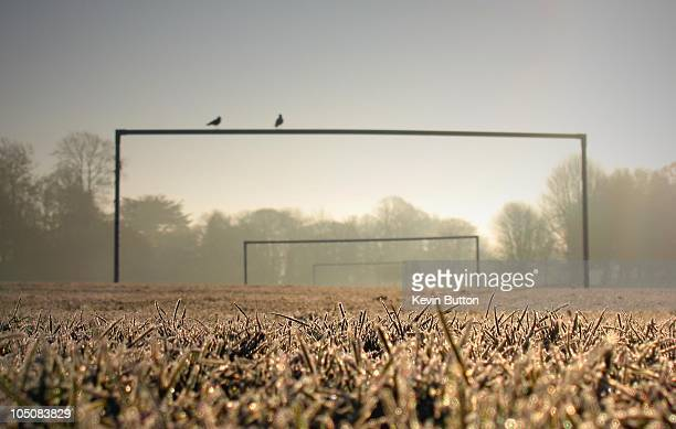 frosty goal posts - ashford kent stock photos and pictures