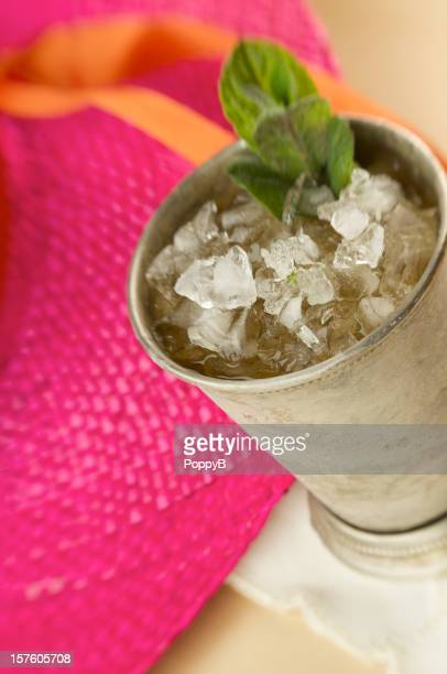 Frosty Mint Julep Cocktail in Silver Cup