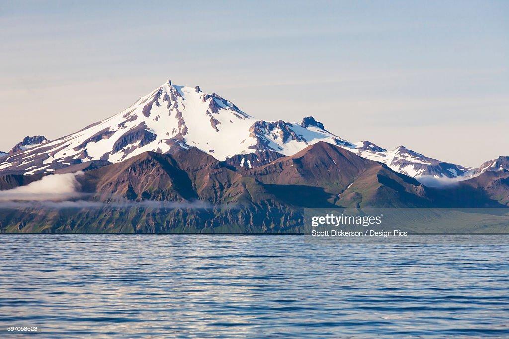 Frosty Peak Volcano On The Alaska Peninsula In Summertime : Stock Photo