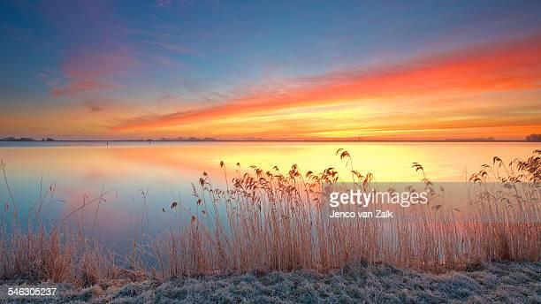 Frosty sunrise on lake Veluwemeer