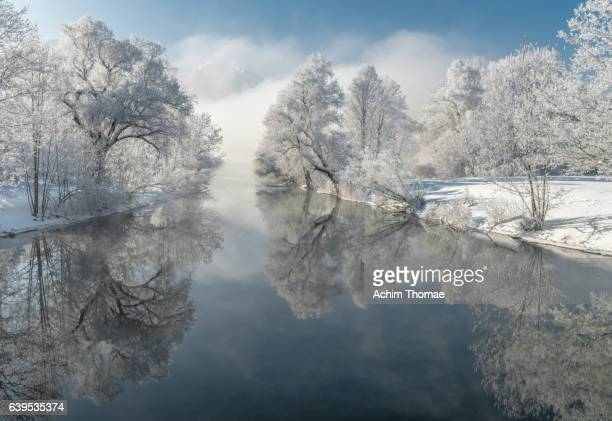 frosty winter morning, bavaria, germany, europe - flussufer stock-fotos und bilder