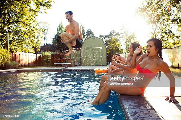 Frour friends enjoying a day at the pool.