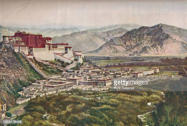 Frowning Cliffs of Lihasa's Red-Walled Palace Set Perfectly On Its Hill', circa 1935. From Our Wonderful World, Volume III, edited by J.A. Hammerton....