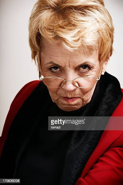 Frowning senior woman
