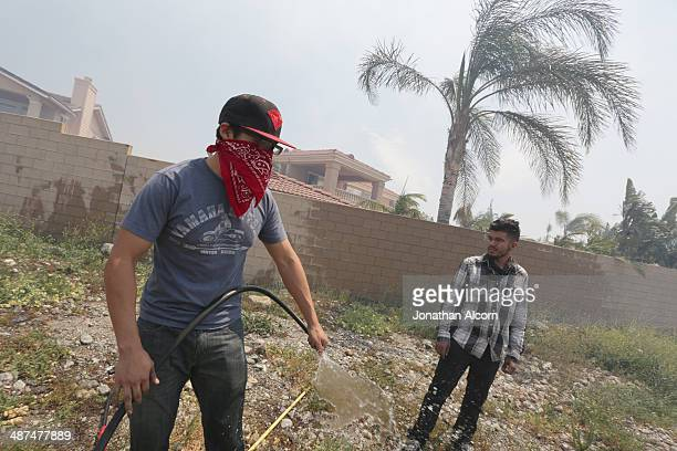Froylan Dominguez uses a garden hose to wet down brush in front of his home as the wind driven Etiwanda fire approaches his home on April 30 2014 in...