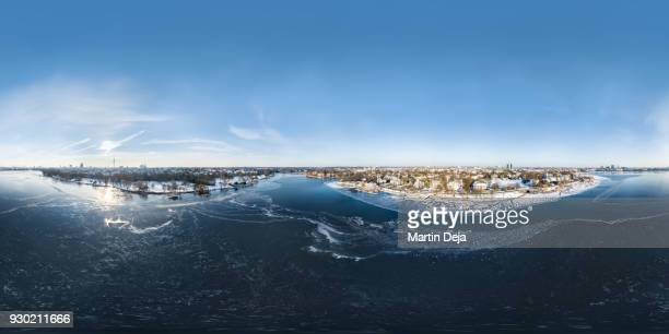 frozen alster lake aerial 360° hdr panorama - high dynamic range imaging stock pictures, royalty-free photos & images
