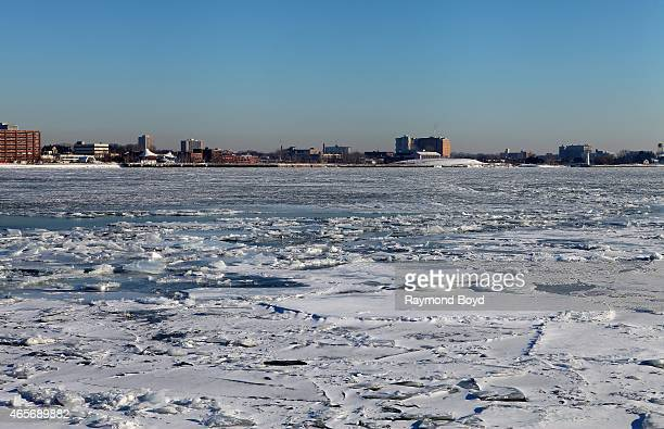 Frozen and icy Detroit River as photographed from Windsor, Ontario, Canada on February 28, 2015 in Windsor, Ontario, Canada.
