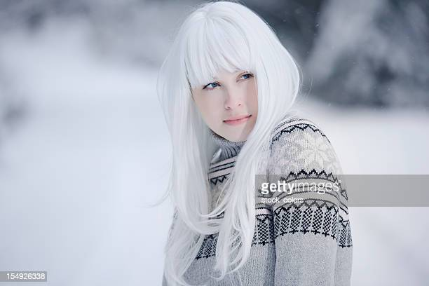 frozen beauty - white hair stock pictures, royalty-free photos & images