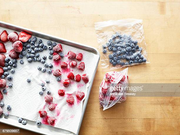 frozen berries on baking sheet and in plastic bags - frozen fruit stock pictures, royalty-free photos & images