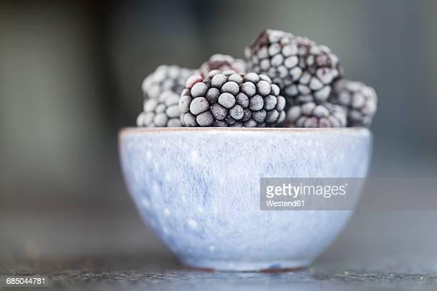 Frozen blackberries, close-up