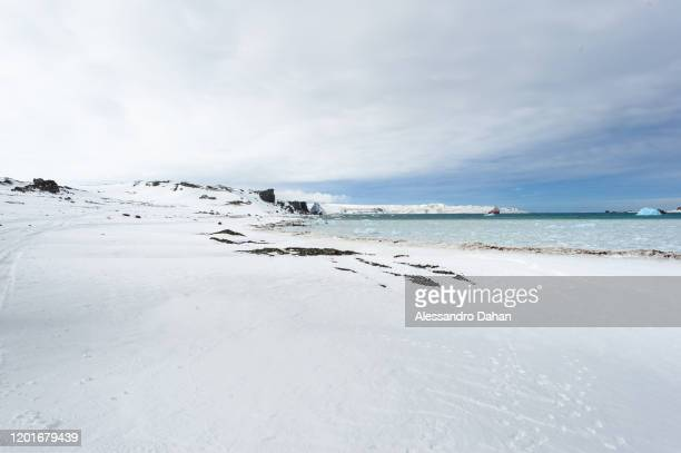 Frozen boarding and disembarkation support area on November 04 2019 in King George Island Antarctica