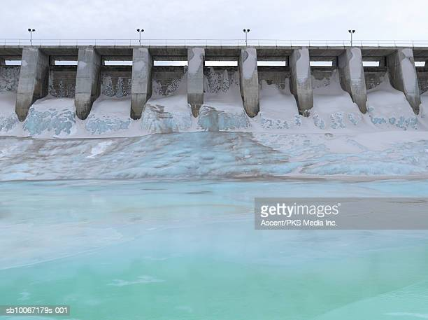 frozen bow river below kananaskis dam - kananaskis country stock pictures, royalty-free photos & images