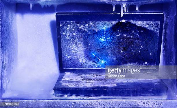 Frozen broken laptop computer