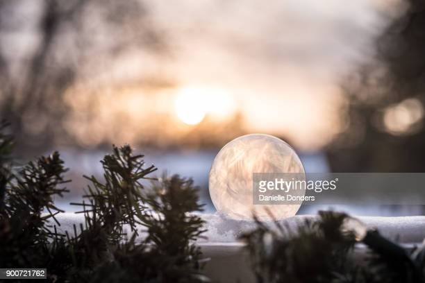 Frozen bubble at sunset