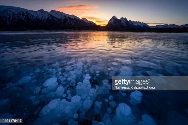frozen bubbles in abraham lake - see abraham lake stock-fotos und bilder
