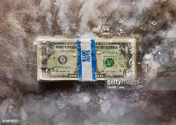 Frozen bundle of dollar bills