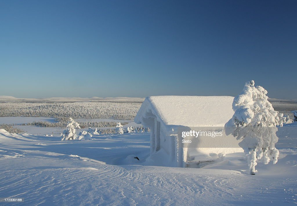 Frozen cabin with snow and trees : Stock Photo