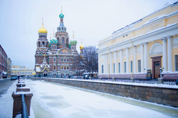 Frozen Canal Near Church Of The Savior On Spilled Blood, St Petersburg, Northwestern District, Russia Wall Art