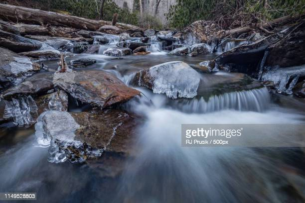 frozen cascades - newfound gap stock photos and pictures